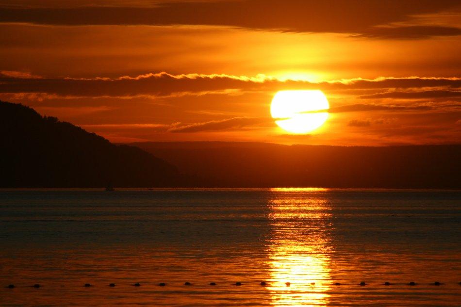 Sonnenuntergang am See Bild auf Leinwand  Acrylglas