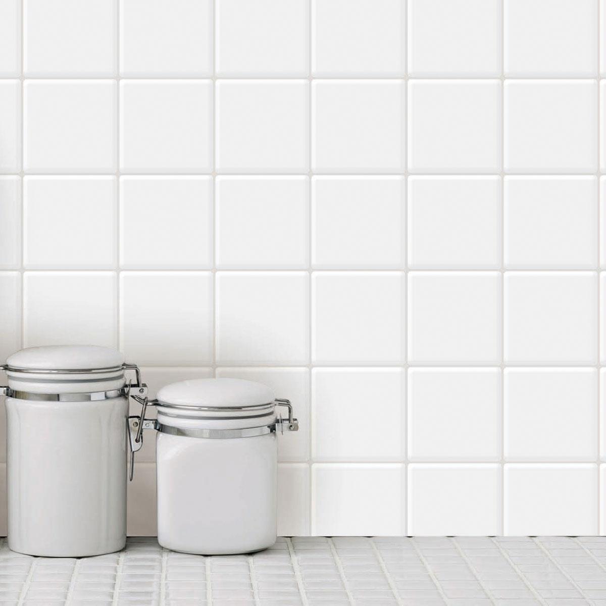 a17069 10 sheets peel and stick tile for kitchen backsplash white square sticker
