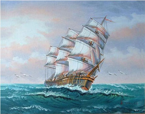 Ship At Sea Painting