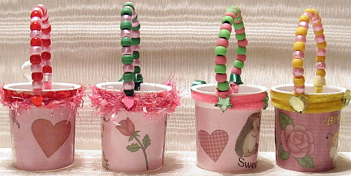 reusing yogurt cups to make favor baskets