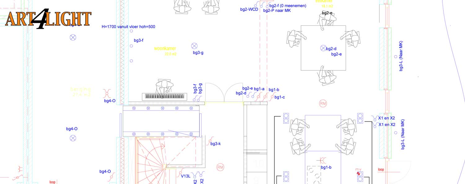 hight resolution of autocad drawing for a light plan