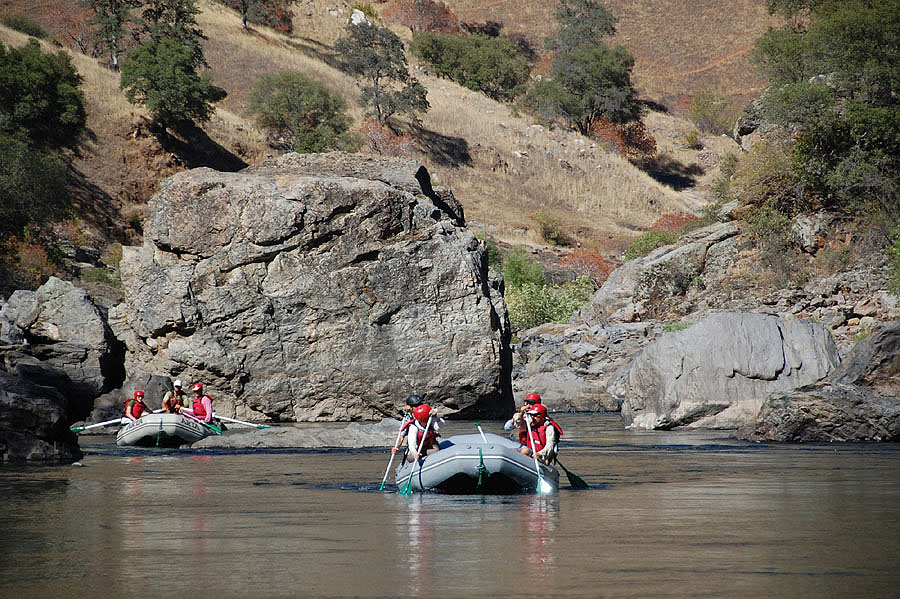 A paddle Raft on the Tuolumne River
