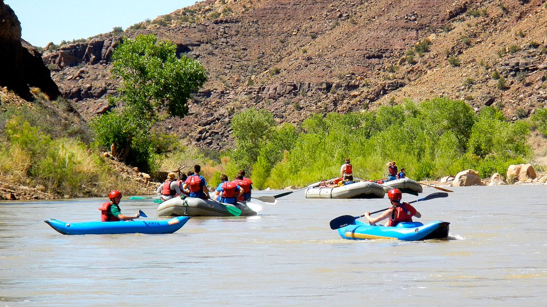 Junior Whitewater School students work on the basics on the Green River through Desolations Canyon