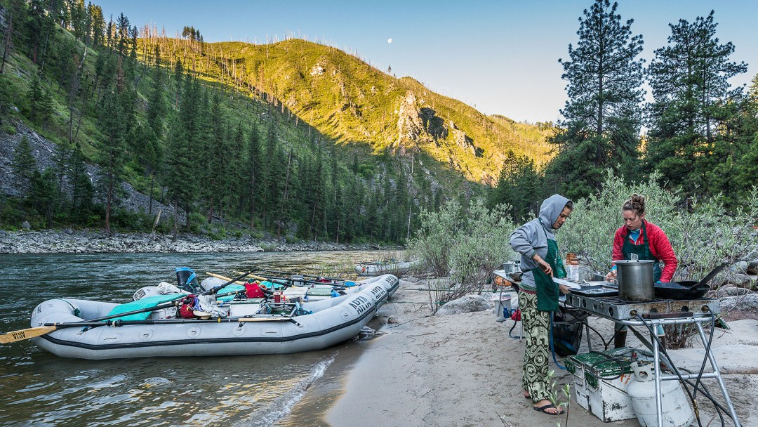 Camping along the banks of the Main Salmon River in Idaho