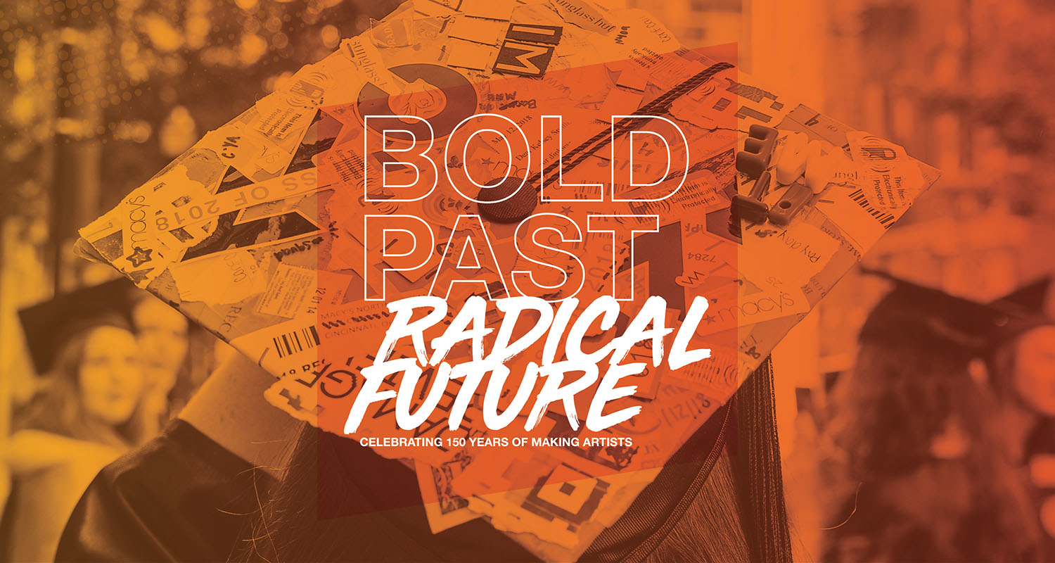 Picture of graduation cap with the text Bold Past, Radical Future