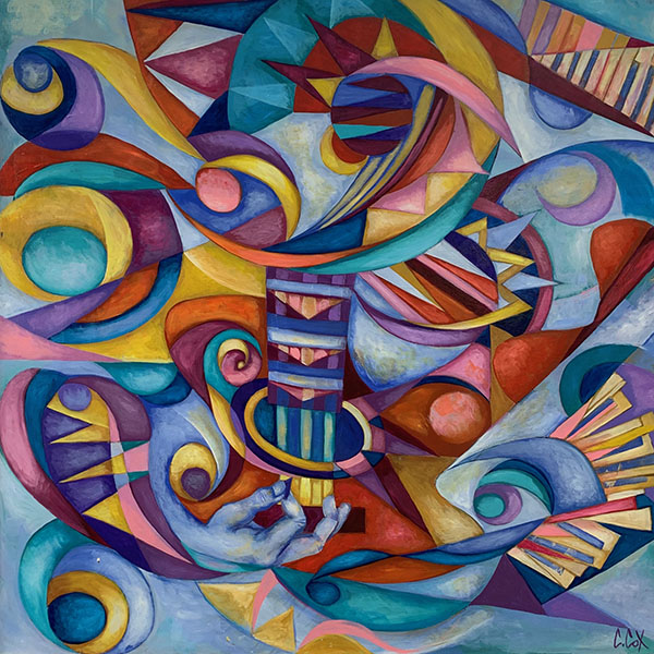 Colorful abstract painting by Cedric Michael Cox