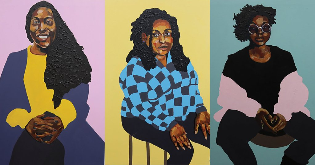 An image of three paintings depicting POC.