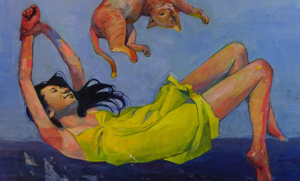 A gouache painting of a floating woman and cat .