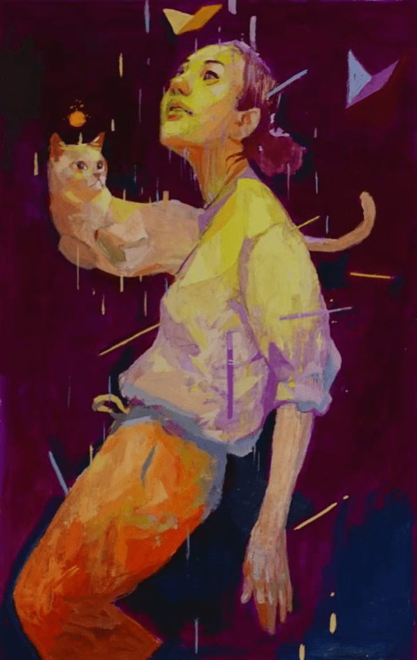 A gouache painting of a woman floating with a cat.