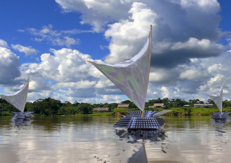 Antonio Barrese: FlowingRiver_RioAmazonas, 2011/in progress - Evento di arte geografica, Brasile - visione diurna.