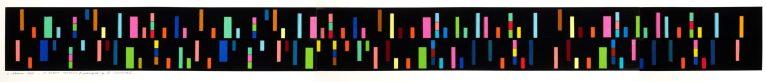 LUIGI VERONESI, Visualizzazione cromatica della variazione II dalle variazioni per pianoforte op.27 di Anton Webern, 1972 - collage e china su cartoncino, 14,5x167,5 cm | Courtesy Galleria 10 A.M. Art, Milano