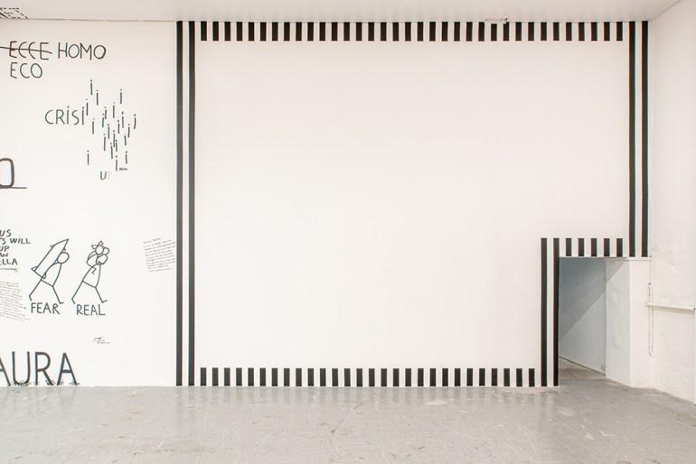 Galleria Continua San Gimignano:Daniel Buren: La cornice a sei lati, 2020. Work in situ - black vinyl strips, white adhesive 8,7cm wide, - variable dimensions.