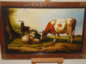 Pastoral Landscape of Cow, Sheep, Goat