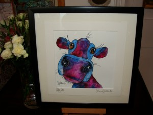 Silly Cow original watercolour pastel