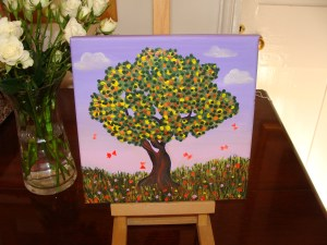 Tree and Butterflies acrylic on canvas