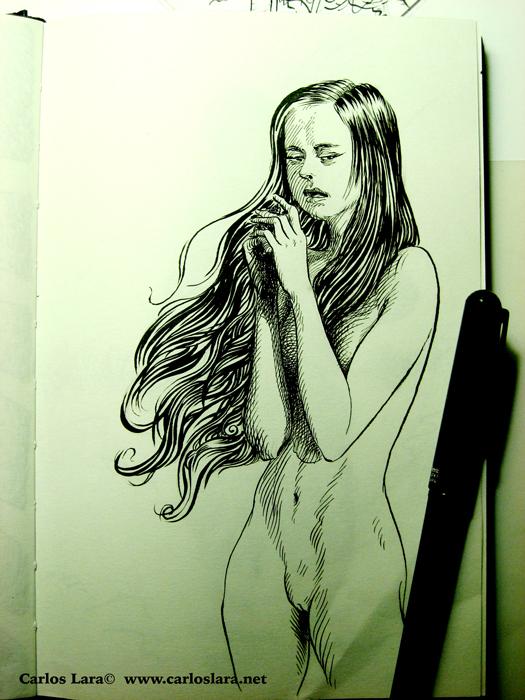 Angustia, apunte en tinta sobre cuaderno de dibujo.