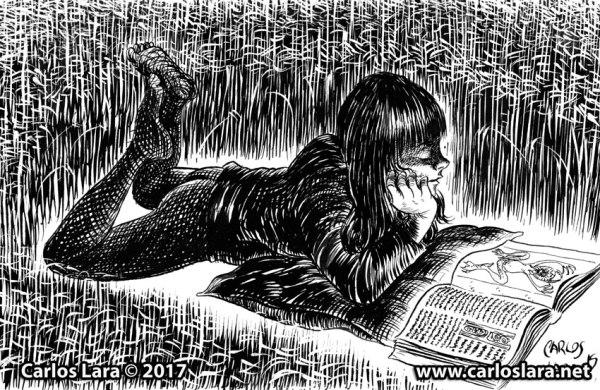 Leyendo el libro del diablo - Tinta sobre papel