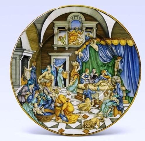 piatto maiolica la nascita di san giovanni battista urbino
