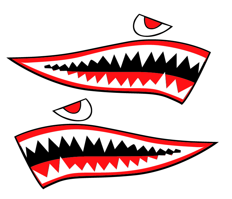 Shark Teeth Kayak Sticker Art Amp Sea Kayak Shark Teeth