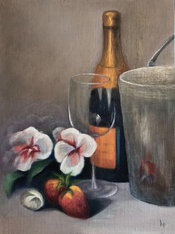 """""""Champagne 'N Berries"""", Oil on Board, 12"""" x 16"""""""