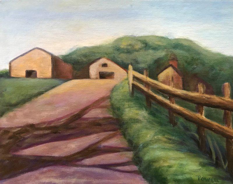 """Farm Road"", Oil on Board, 11"" x 14"""
