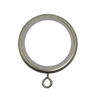 anneaux alu brosse o46 mm avec crochet pour tringle a rideaux vendus par 10