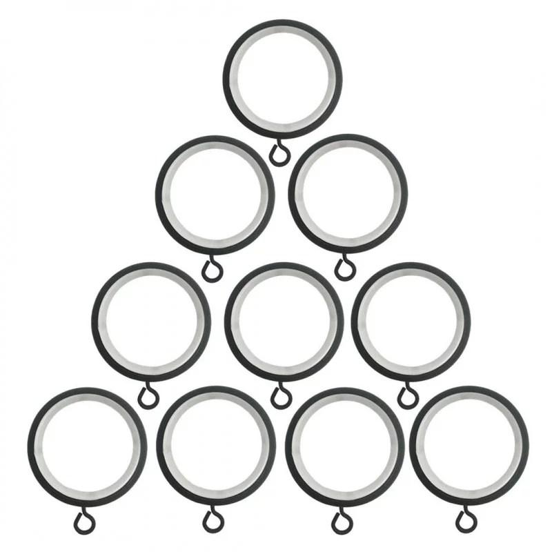 anneaux noir o45 mm avec crochet pour tringle a rideaux par 10