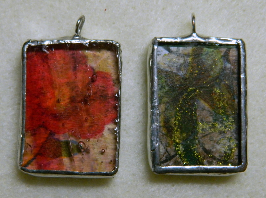 glass collage charms