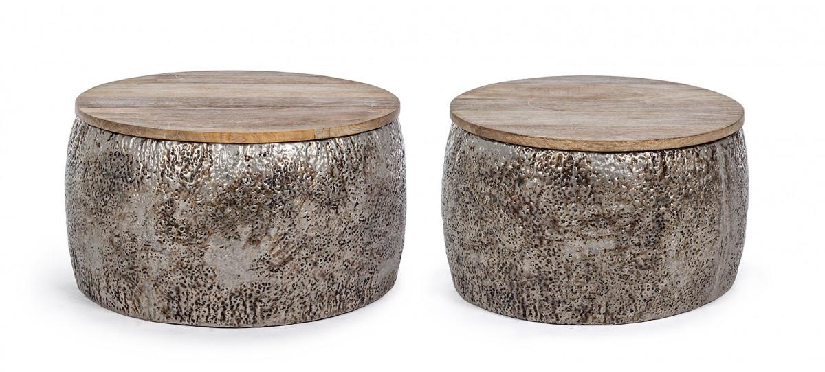 set de 2 tables basses rondes metal et manguier