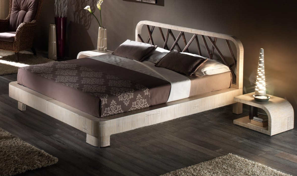 lit bambou avec ou sans rangement avec sommier lattes 160x200 tete de lit option