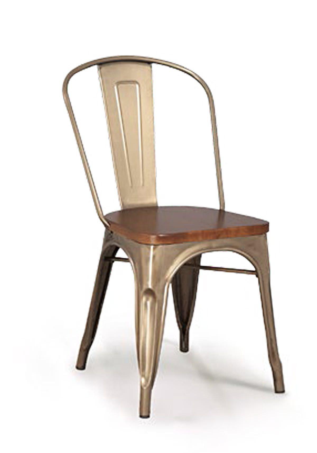 chaise metal et bois vintage