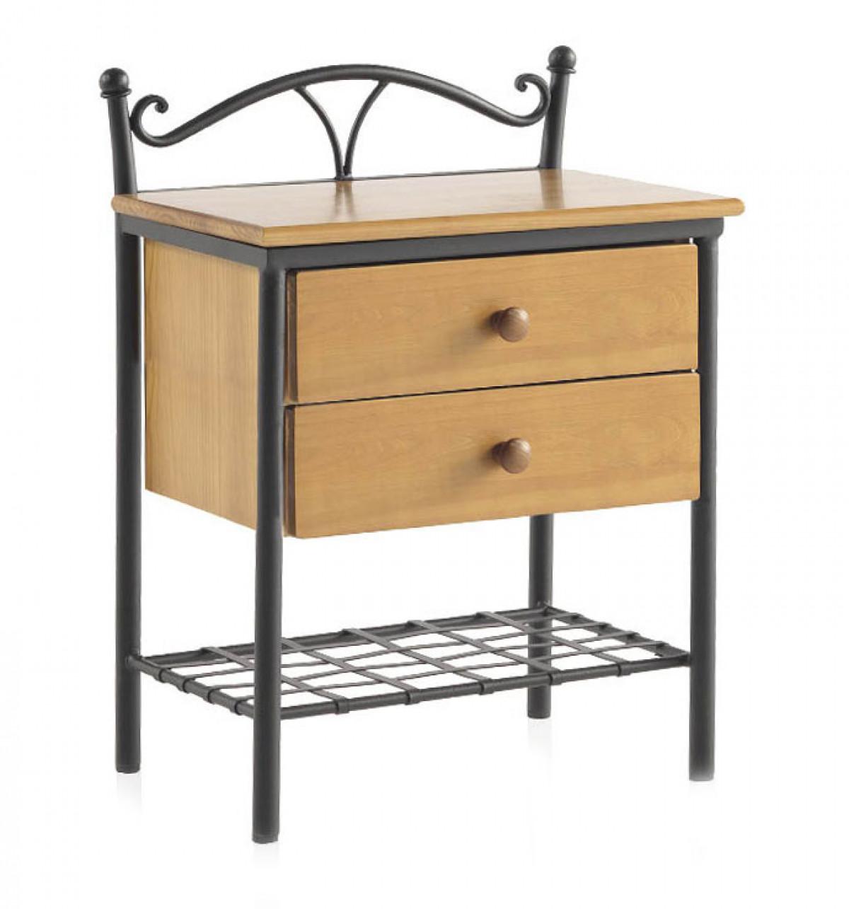 elioza chevet metal et bois personnalisable 2 tiroirs