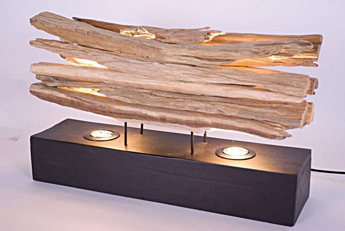 lampe en bois flotte sur socle