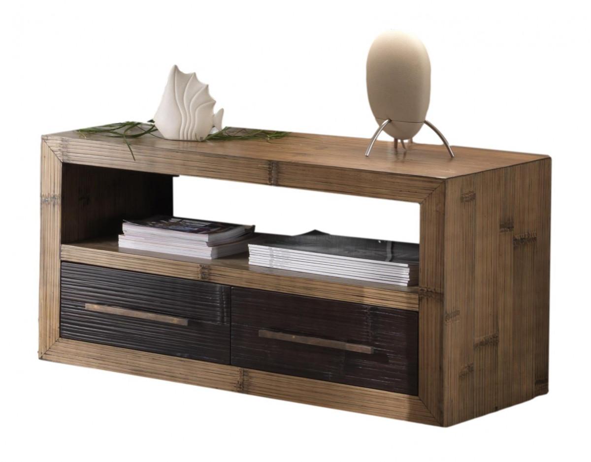 indah meuble tv table basse sur roulettes bambou et mindi