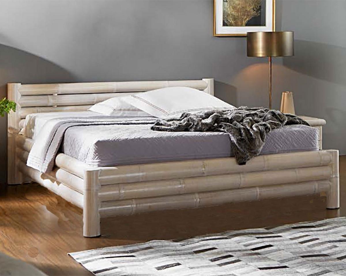 lit en bambou finition blanc ceruse ou naturel patine avec sommier lattes 160x200