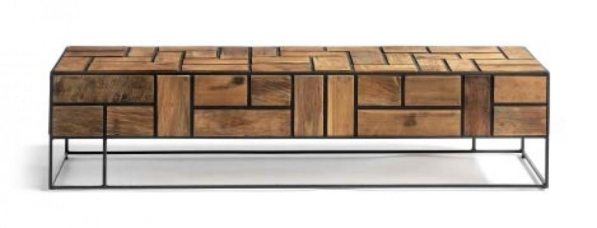 kubic meuble television teck naturel