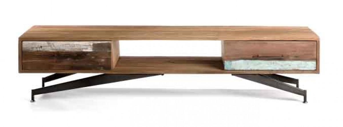artisadar meuble tv teck recycle pietement metal