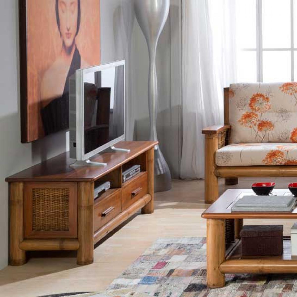 tropicana miel meuble tv video bambou et mindi