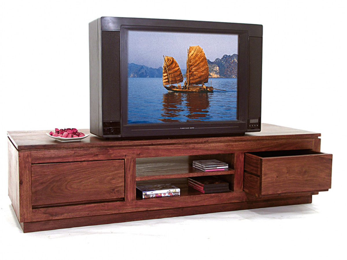 wakae grande meuble television bois exotique