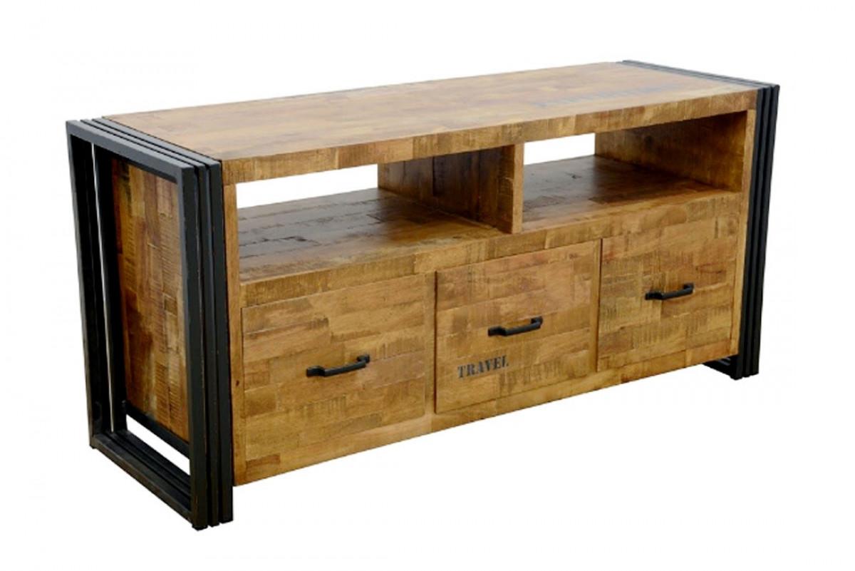 indus long meuble tv bois et metal