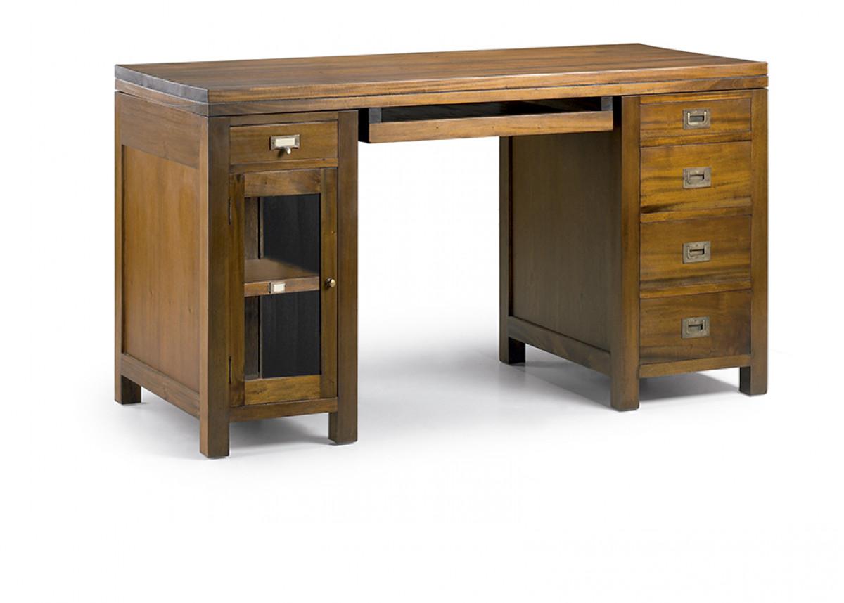 bureau informatique en bois naturel 140 60 78 cm veland