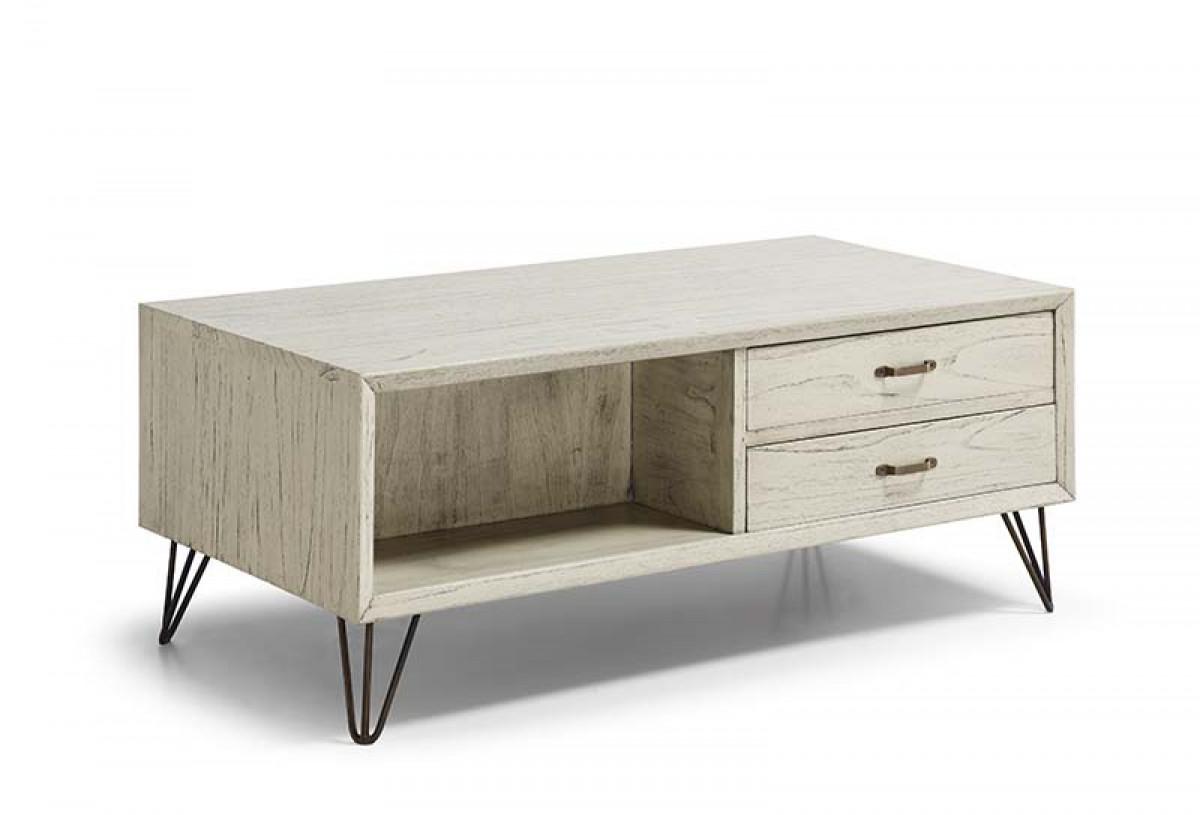 table de salon blanche bois et metal wenca
