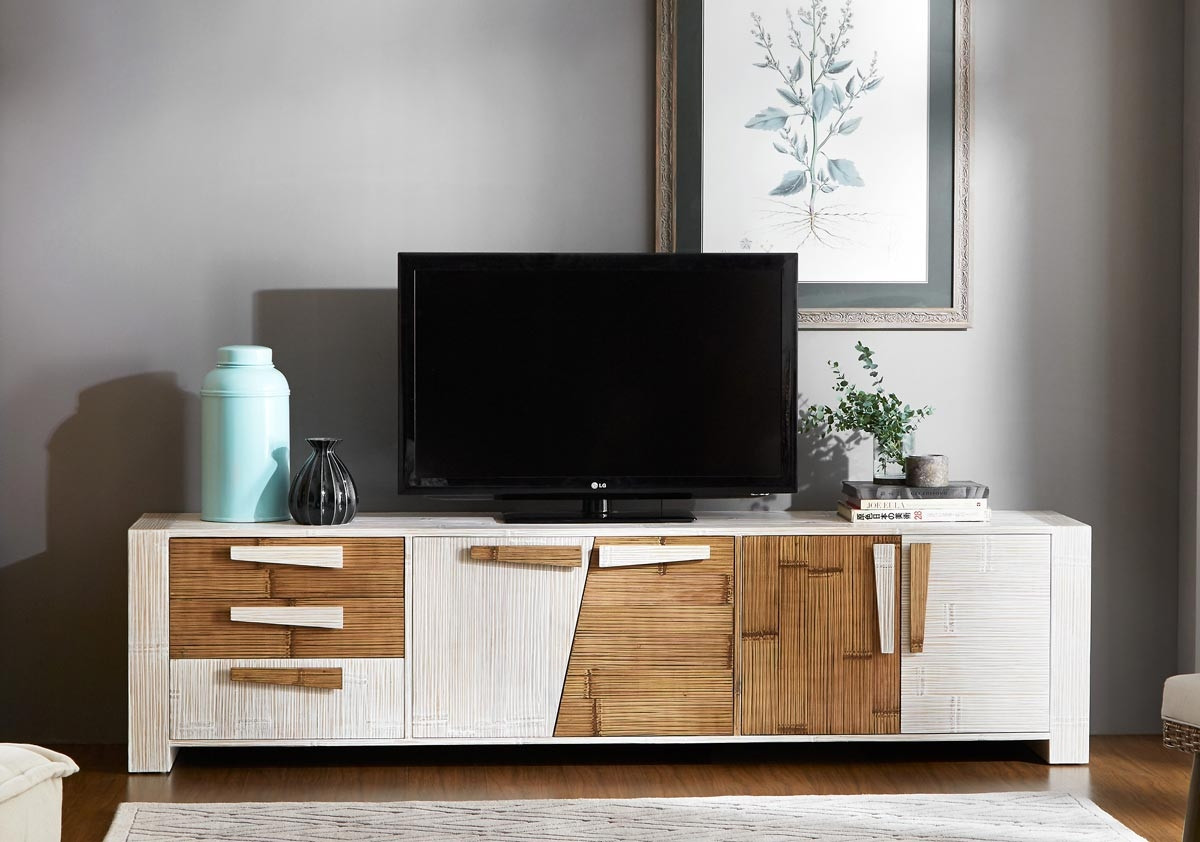 buffet meuble tv bambou bas et long