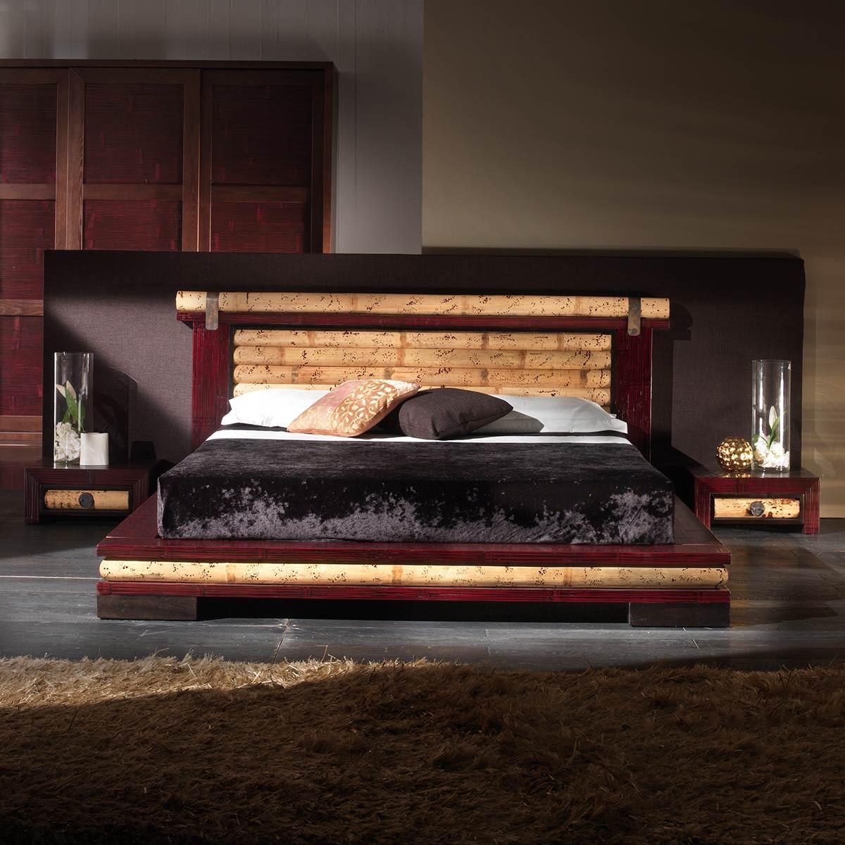 sha lit rouge tatami bambou avec sommier 160