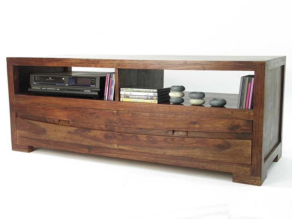 meuble tv multimedia 2 tiroirs palissandre massif