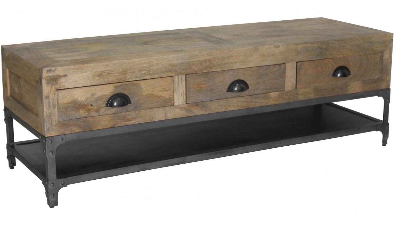 boston meuble tv industriel bois et metal