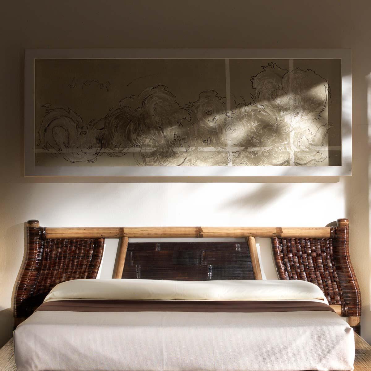 noka tete de lit exotique bambou et rotin