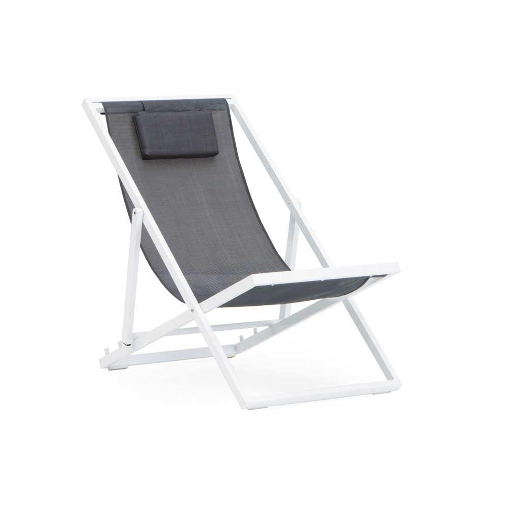 chaise longue pliante jardin aluminium blanc et textilene gris
