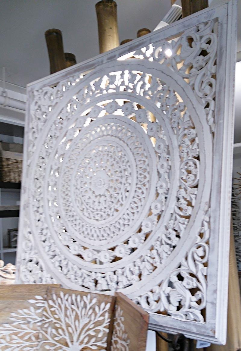 Panneau bois sculpt blanc patin