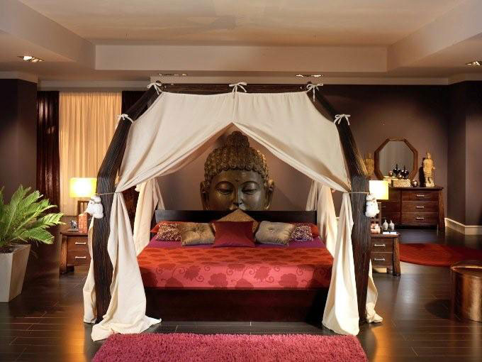Lit baldaquin bois wenge Sarang Buaya dimensions au choix 3729